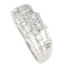Wavy Row Platinum 1 Carat Baguette Diamond Bridal Ring - 1795380