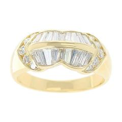 Wavy Two Row Diamond Baguette Ring with Round Diamonds 18 Karat Yellow Gold - 1795405