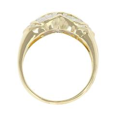 Wavy Two Row Diamond Baguette Ring with Round Diamonds 18 Karat Yellow Gold - 1795408