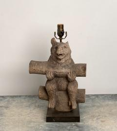 Weathered Black Forest Carved Wooden Bear Lamp Swiss Circa 1920 - 1514968