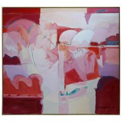 Wesley E Johnson Huge Wesley Johnson Abstract Oil Painting in Variation of Pink - 1036413