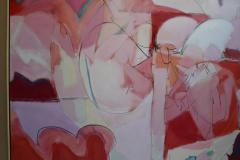 Wesley E Johnson Huge Wesley Johnson Abstract Oil Painting in Variation of Pink - 1036416
