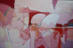 Wesley E Johnson Huge Wesley Johnson Abstract Oil Painting in Variation of Pink - 1036418