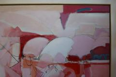 Wesley E Johnson Huge Wesley Johnson Abstract Oil Painting in Variation of Pink - 1036422