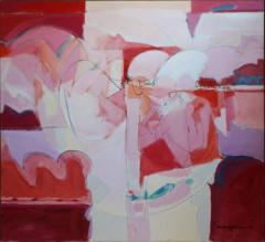 Wesley E Johnson Huge Wesley Johnson Abstract Oil Painting in Variation of Pink - 1040393
