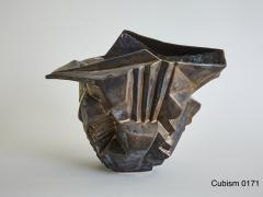 Wheel thrown and manipulated cubist vessel in white stoneware  - 1187784