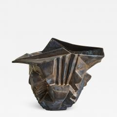 Wheel thrown and manipulated cubist vessel in white stoneware  - 1188024