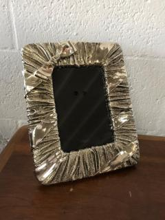 Whimsical Silver Photo or Picture Frame with a Ruched Fabric and Bow Motif - 1518700