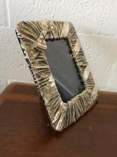 Whimsical Silver Photo or Picture Frame with a Ruched Fabric and Bow Motif - 1518717