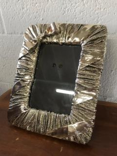 Whimsical Silver Photo or Picture Frame with a Ruched Fabric and Bow Motif - 1518725