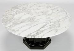 White Carrara Marble Coffee Table With Ebonized Fluted Wood Base - White carrara marble coffee table