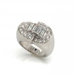 White Diamonds Round et Baguettes Cut on White Gold 18K Ring - 1209011