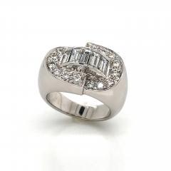 White Diamonds Round et Baguettes Cut on White Gold 18K Ring - 1209012