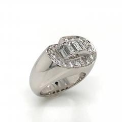 White Diamonds Round et Baguettes Cut on White Gold 18K Ring - 1209015