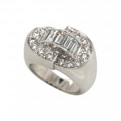 White Diamonds Round et Baguettes Cut on White Gold 18K Ring - 1209429