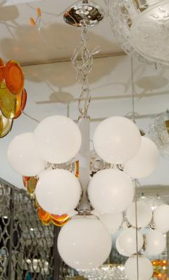 White Enameled Pyramid Chandelier with Gloss Opal Globes - 138997