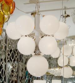 White Enameled Pyramid Chandelier with Gloss Opal Globes - 139000