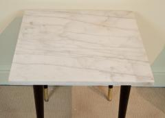 White Marble Top Side Table with Ebonized Legs - 2030647