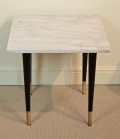 White Marble Top Side Table with Ebonized Legs - 2030648