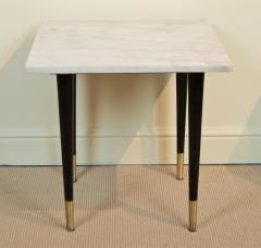 White Marble Top Side Table with Ebonized Legs - 2030650