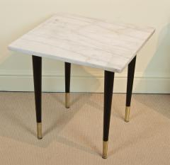 White Marble Top Side Table with Ebonized Legs - 2030651