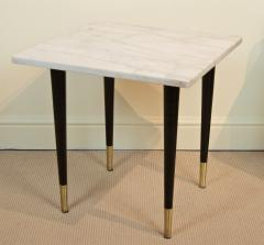 White Marble Top Side Table with Ebonized Legs - 2030654