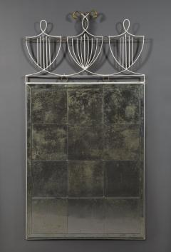 White Painted Iron Mirror with Gilt Brass Detailing 12 Beveled Mirror Plates - 1852180