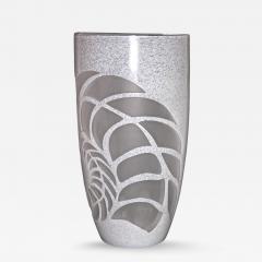 White Textured Murano Glass Vase with Fern Decor - 333695