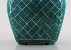 Wilhelm K ge Argenta lidded vase in ceramic decorated with checkers in silver inlaid - 1321418