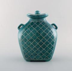 Wilhelm K ge Argenta lidded vase in ceramic decorated with checkers in silver inlaid - 1321449