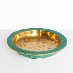 Wilhelm K ge SWEDISH ART DECO BOWL BY WILHELM KAGE FOR GUSTAVSBERG GOLD AND GREEN - 1194701