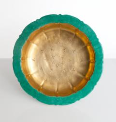 Wilhelm K ge SWEDISH ART DECO BOWL BY WILHELM KAGE FOR GUSTAVSBERG GOLD AND GREEN - 1194703