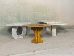 Will West Unique Rusted Carrara Marble Coffee Table - 1026637