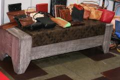 William Alburger Wood Leather Bench Table Alburger Design Wood Art Pong Gaddi Leather Work - 1137023