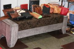 William Alburger Wood Leather Bench Table Alburger Design Wood Art Pong Gaddi Leather Work - 1137024