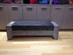 William Alburger Wood Leather Bench Table Alburger Design Wood Art Pong Gaddi Leather Work - 1137025
