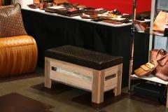William Alburger Wood Leather Bench Table Alburger Design Wood Art Pong Gaddi Leather Work - 1137027