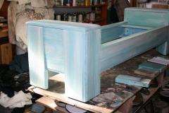 William Alburger Wood Leather Bench Table Alburger Design Wood Art Pong Gaddi Leather Work - 1137030
