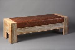 William Alburger Wood Leather Bench Table Alburger Design Wood Art Pong Gaddi Leather Work - 1137051