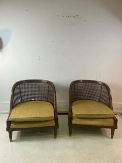 William Billy Haines MID CENTURY PAIR OF CANE WOOD AND BRASS CHAIRS IN THE MANNER OF BILLY HAINES - 2046943