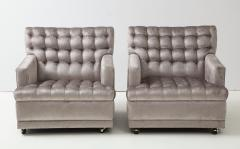 William Billy Haines Pair Of Biscuit Tufted Club Chairs Attributed to Billy Haines  - 1247042