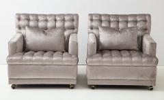 William Billy Haines Pair Of Biscuit Tufted Club Chairs Attributed to Billy Haines  - 1247043
