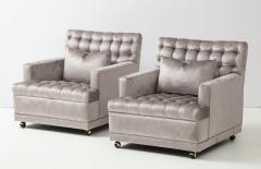 William Billy Haines Pair Of Biscuit Tufted Club Chairs Attributed to Billy Haines  - 1247049