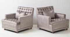 William Billy Haines Pair Of Biscuit Tufted Club Chairs Attributed to Billy Haines  - 1247050