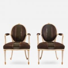 William Billy Haines Pair of Leather Upholstered Fauteuils by William Billy Haines - 261393