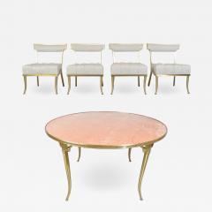 William Billy Haines William Billy Haines Brass and Marble Game Dinette Party Table and Chairs Set - 1776205