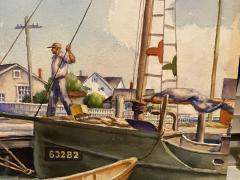 William Douglas Prizer POIGNANT 1940s MARINA WATERCOLOR BY WILLIAM DOUGLAS PRIZER - 1448504