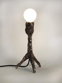 William Guillon Unique Bronze Sculptural Table Lamp Signed by William Guillon - 1315221