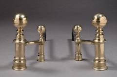 William Hunneman Pair of Ball Top Andirons Made by William Hunneman - 246620