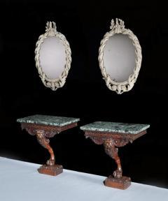 William Kent Rare Pair of Early Georgian Kentian Period White Decorated Mirrors - 1137556
